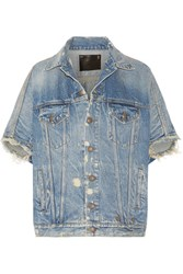R 13 R13 Distressed Denim Vest Mid Denim