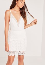 Missguided Floral Lace Mini Skirt White White