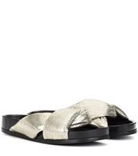 Chloe Leather Slip On Sandals Silver