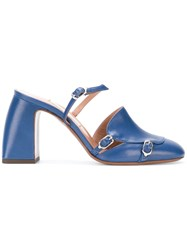 L'autre Chose Buckled Mules Blue