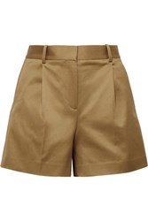 Theory Pleated Cotton Blend Twill Shorts Light Brown