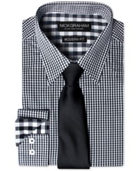 Nick Graham Men's Modern Fitted Gingham Dress Shirt And Solid Tie Set Black