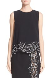 Versace Women's Embellished Lace Trim Cady Top
