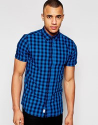 Jack And Jones Jack And Jones Short Sleeve Check Shirt Imperial Blue