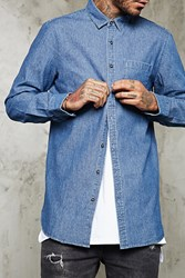 Forever 21 Slim Fit Longline Denim Shirt