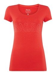 Salsa Short Sleeve Crew Neck Top With Logo Red