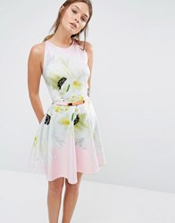 Ted Baker Tuliaa Skater Dress In Pearly Petal Print 57 Nude Pink