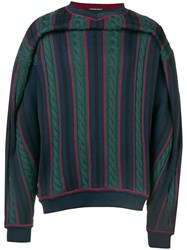 Y Project Striped Cable Knit Jumper Blue