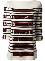 Marc Jacobs Striped Sequin Top White