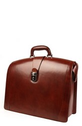 Bosca Triple Compartment Leather Briefcase Brown