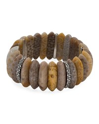 Stephen Dweck Fossil Coral Marquise Stretch Bracelet Pink