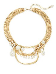 Punch Sparkle Triple Chain Draped Bib Necklace Pearl