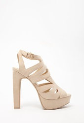 Forever 21 Caged Faux Suede Sandals Nude