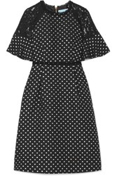 Draper James Shadow Lace Paneled Polka Dot Jacquard Dress Black