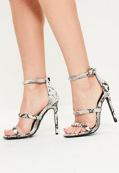 Missguided Grey Snake Print 3 Strap Barely There Heels