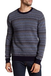 Barque Crew Neck Graphic Knit Pullover Blue