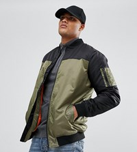 Jacamo Tall Colour Block Bomber Jacket In Khaki Blk Khaki Green