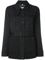 Burberry Quilted Detail Fitted Jacket Women Cotton Polyamide Acetate Cupro 10 Black