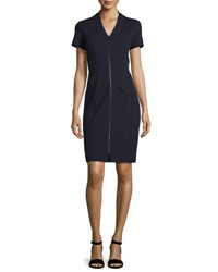 Lafayette 148 New York Zip Front Short Sleeve Sheath Dress Plus Size Ink