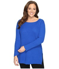 Vince Camuto Plus Size Long Sleeve Ribbed V Textured Sweater Bold Cobalt Women's Sweater Blue