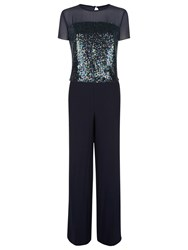 Fenn Wright Manson Venus Sequin Jumpsuit Navy
