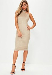 Missguided Brown High Neck Backless Faux Suede Bodycon Dress