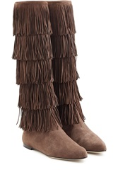 Paul Andrew Fringed Suede Knee Boots Brown