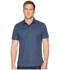 Perry Ellis Slim Stretch Mini Floral Dot Shirt Ink Short Sleeve Button Up Navy
