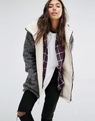 Billabong Oversized Jacket With Faux Fur Lining In Buckle Wool Yarn Grey
