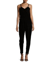 Design History Sleeveless Surplice Velour Jumpsuit Onyx Black