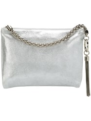 Jimmy Choo Callie Metallic Tassel Clutch Grey