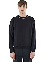 Saint Laurent Zipped Crew Neck Sweater Black