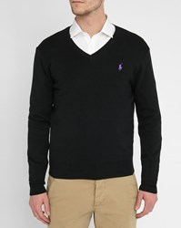 Polo Ralph Lauren Black Pima Cotton V Neck Sweater