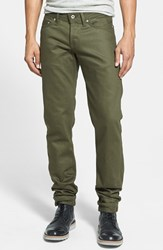 Men's Naked And Famous Denim 'Weird Guy' Slim Fit Jeans Khaki Green Selvedge Chino