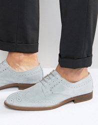 Asos Brogue Shoes In Relaxed Blue Suede With Natural Sole Blue