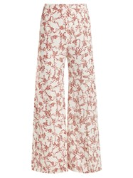 Emilia Wickstead Hullinie Floral Print Crepe Trousers Red White