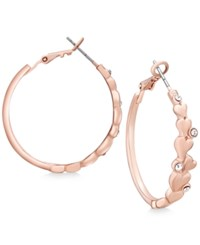 Guess Rose Gold Tone Crystal Heart Hoop Earrings