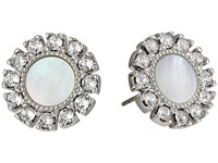 Tory Burch Deco Flower Studs Earrings Mother Of Pearl Silver Earring