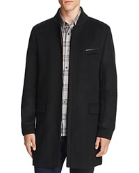 Hugo Mazon Wool Cashmere Bomber Overcoat Black