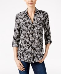 Charter Club Giraffe Print Shirt Only At Macy's Deep Black Combo