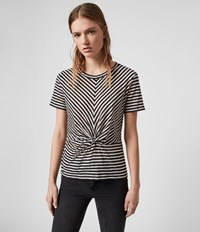 Allsaints Jess Stripe Short Sleeve T Shirt Chalk Ink Blue