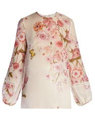 Giambattista Valli Balloon Sleeved Floral Print Silk Georgette Blouse Ivory Multi