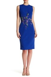 David Meister Sleeveless Embellished Sheath Dress Blue