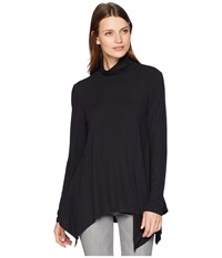Dylan By True Grit Softest Long Sleeve Tunic Turtleneck Black Blouse