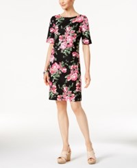 Karen Scott Rose Print T Shirt Dress Only At Macy's Deep Black