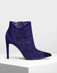 Charles And Keith Velvet Flocking Ankle Boots Blue
