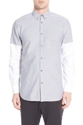 Zanerobe Trim Fit Colorblock Sport Shirt Grywh