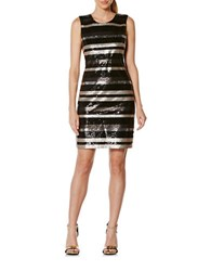 Laundry By Shelli Segal Striped Sequin Dress Black
