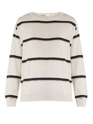 Brunello Cucinelli Monili Embellished Striped Cashmere Sweater White Stripe