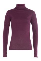 Velvet Cotton Turtleneck Purple